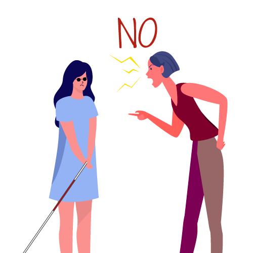 mujer diciendo NO a niña con bastón guía