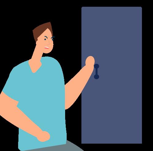 hombre intentando abrir puerta
