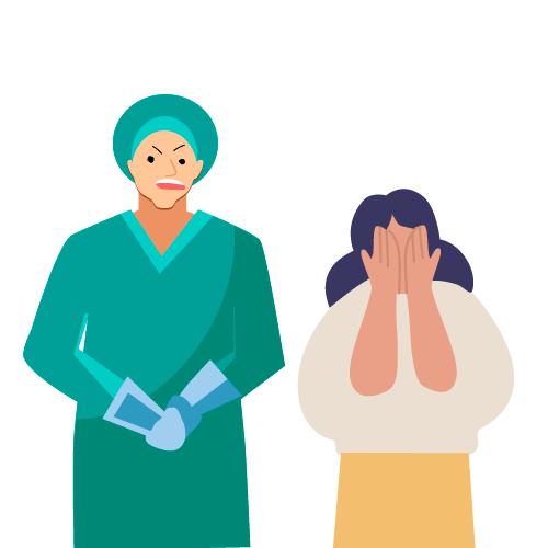 doctor presionando a mujer joven con regaños