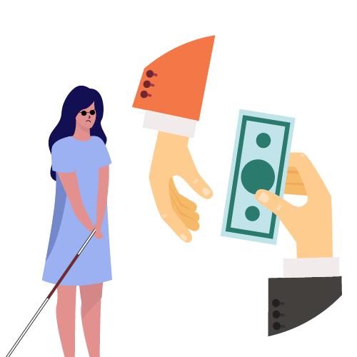 hombres administrando dinero de mujer ciega