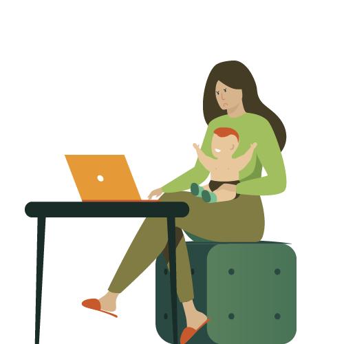 mujer cuidando un niño sin recibir paga