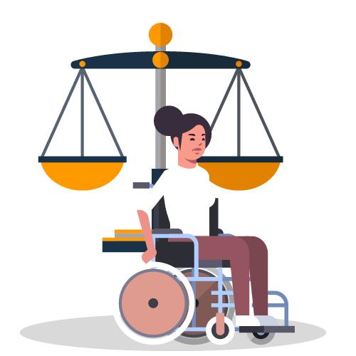 imagen mujer en silla ruedas con balanza de la justicia
