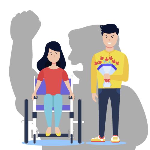 imagen de mujer en silla de ruedas y hombre con ramo de flores enojado