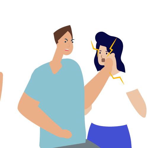 hombre dando bofetada a mujer