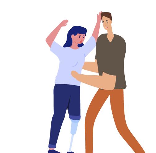 hombre sacudiendo a mujer con protesis de pierna