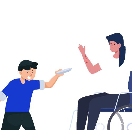 niño lastimando con objeto a niña en silla de ruedas