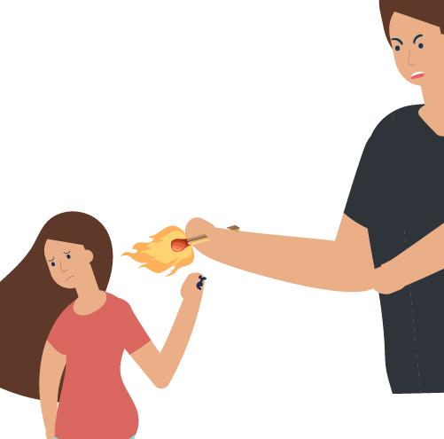hombre lastimando con fuego a niña