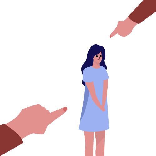 imagen de gente señalando a mujer con burlas