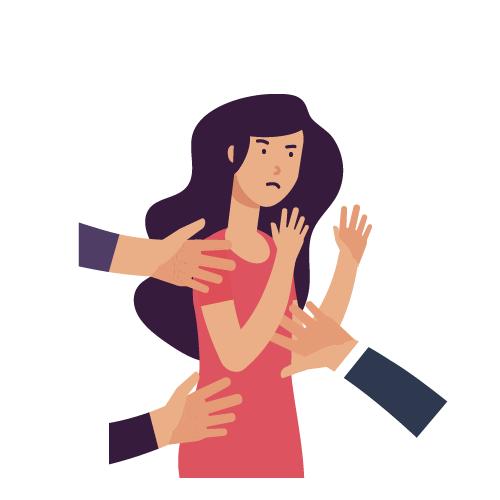 imagen de manos tocando a mujer en partes del cuerpo y la hacen enojar