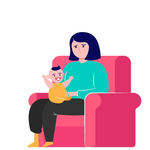 mujer triste cuidando un niño