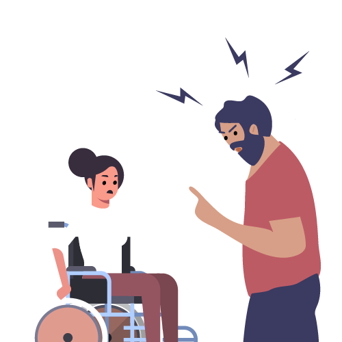 hombre gritando a mujer en silla de ruedas