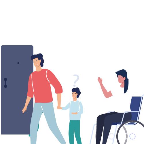 imagen esposo llevandose a hijo y mujer en silla de ruedas