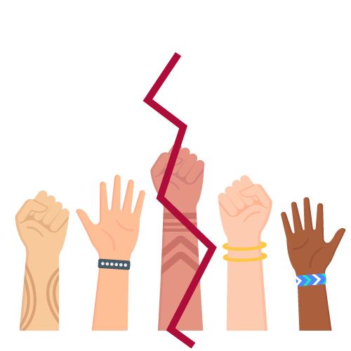 imagen de manos de diferentes etnias y géneros tachadas