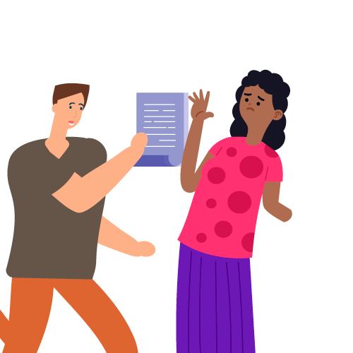 hombre quitando documentos a mujer
