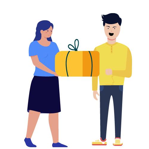 mujer triste dando regalos a su pareja