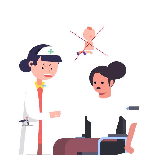 doctora diciendo a mujer en silla de ruedas que no debe tener bebés