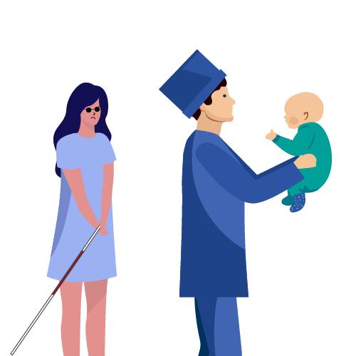 medico llevando se bebé de mujer ciega