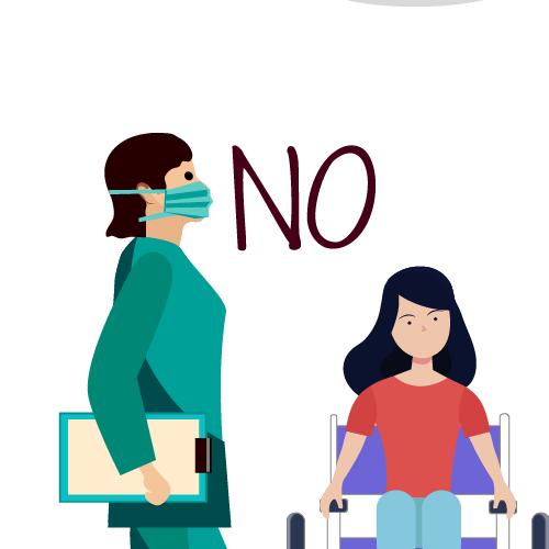 médico negando información a paciente en silla de ruedas