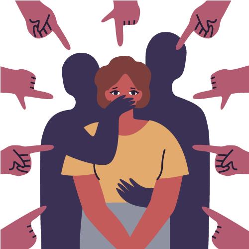 imagen de mujer siendo señalada y callada