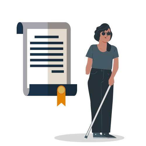 mujer con baston guia y papel con leyes