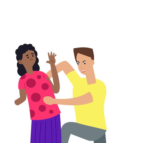 hombre dando jalones a mujer sin brazo