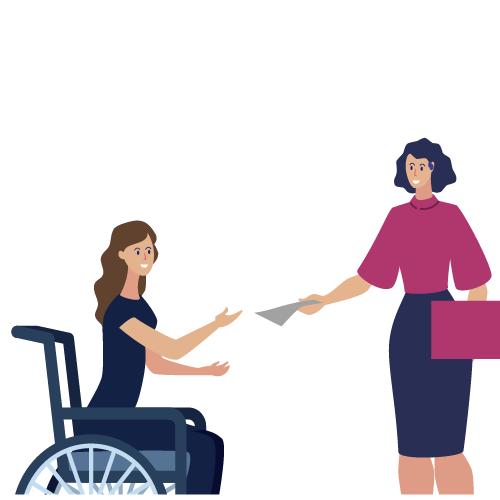 imagen de mujer en silla de ruedas y mujer con aparato auditivo intercambiando información