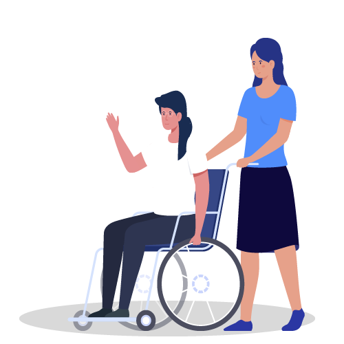imagen de mujeres en silla de ruedes y mujer con aparato auditivo juntas