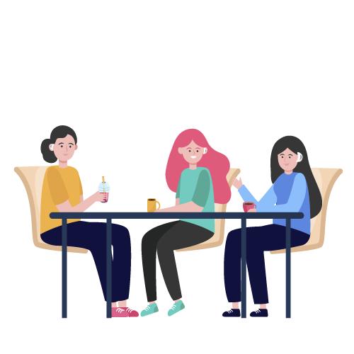 mujeres con aparatos auditivos compartiendo comida juntas