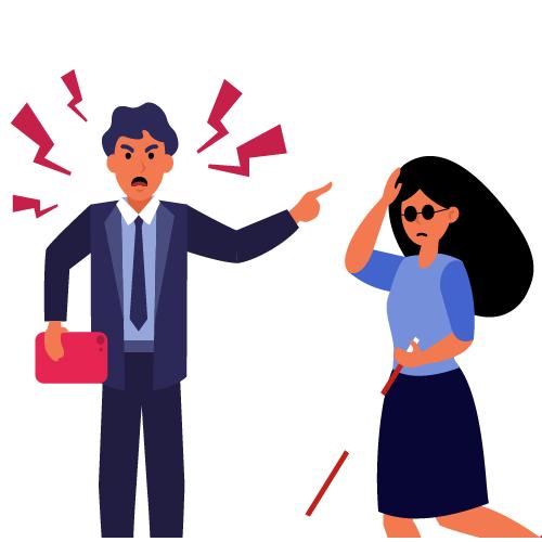 imagen de jefe gritando a empleada con baston guia