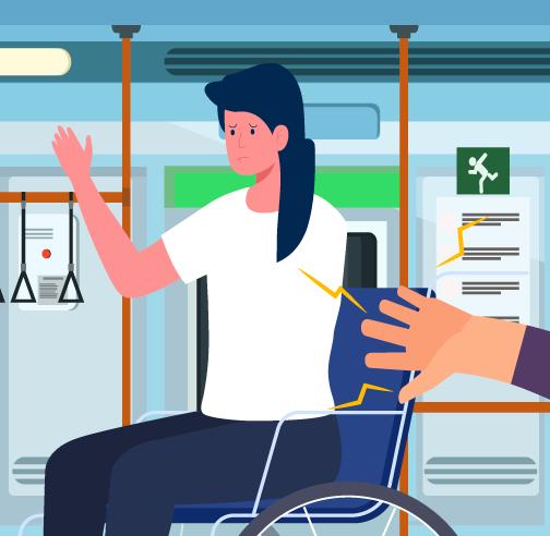 mujer siendo tocada en transporte público