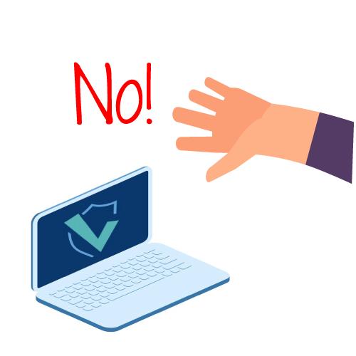 imagen negando el uso de la computadora