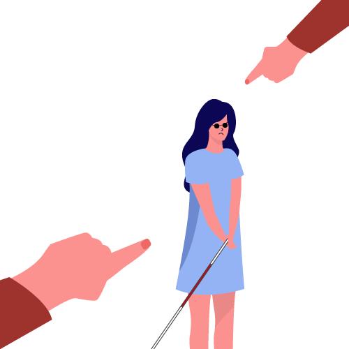 imagen de gente señalando a mujer con baston guia